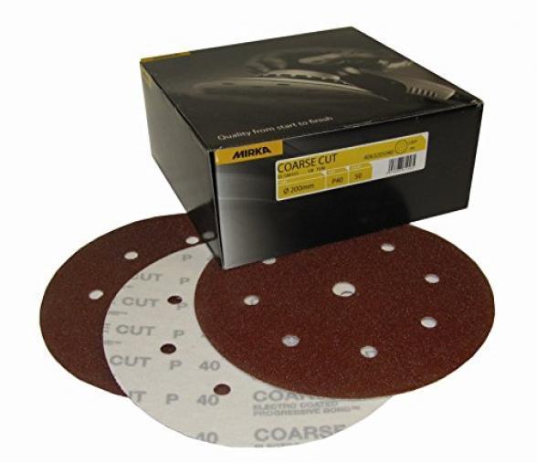 Boite de 50 disques abrasifs coarse cut Mirka 150mm Grip 9 trous P80