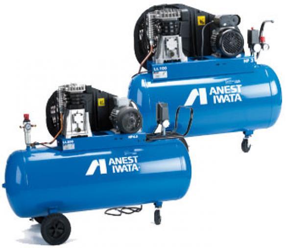 Compresseur IWATA 3CV monophasé étagé bi-cylindres, réservoir 100L